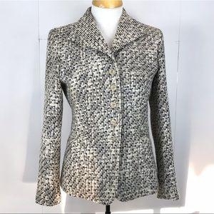 TALBOTS Blazer Sz 4 Black White Tweed Cotton Silk